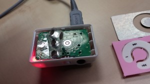 MP3 player with tactile domes partly removed